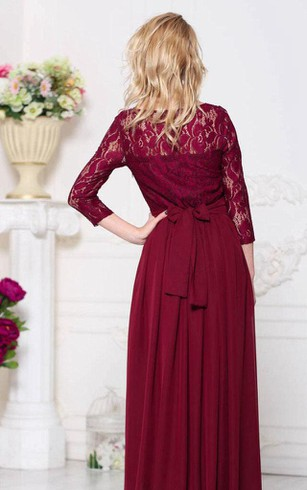 Bateau Lace Illusion 3-4 Sleeve A-line Pleated Chiffon Floor Length Dress