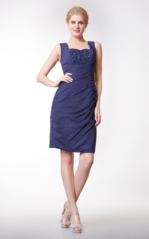 Graceful Side Draped Short Chiffon Dress With Shiny Bodice