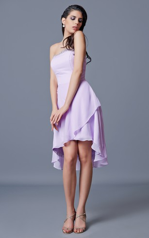 Strapless A-line Short Chiffon Dress With Draping