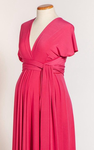 V Neck and V Back Short Sleeve Pleated A-line Jersey Long Dress With Sash