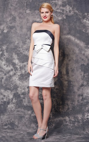 Fantastic Strapless Ruched Short Satin Dress With Bow Belt