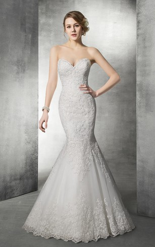 Delicate Sweetheart Lace Mermaid Wedding Dress
