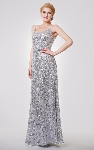 Unique Spaghetti Straps V-neck Sequined Long Dress