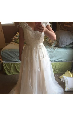 Affordable plus figure wedding dress under 200 cheap large size lace cap sleeved tulle a line gown with scalloped neck junglespirit Choice Image
