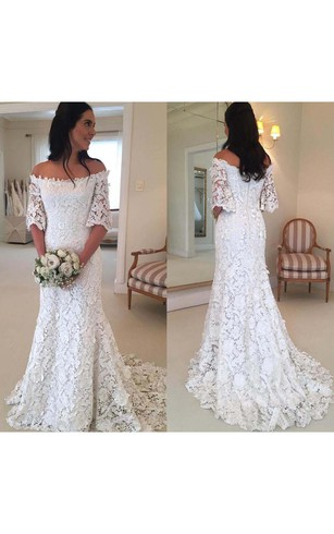 Vintage Bohemian Off The Shoulder Half Long Sleeves Lace Bridal Gown ... ca7498e97326