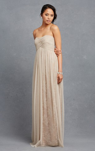 Lavish Long Tulle Dress With Crisscross Ruching