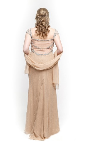 Sweetheart Cap Sleeve Sheath Chiffon Long Dress With Beadings