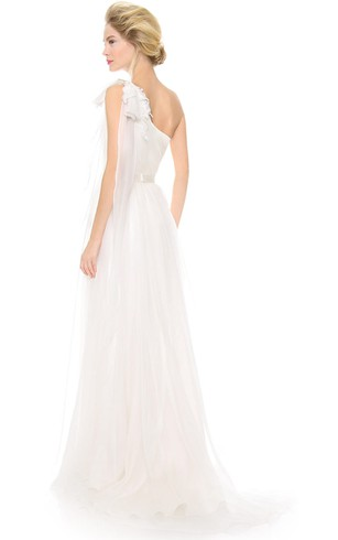 Long One-shoulder A-line Organza Dress With Satin Sash