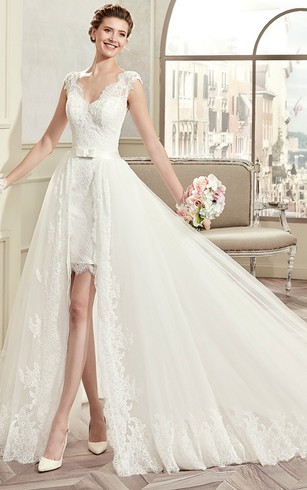 Detachable style wedding gown removable bridal dress dorris wedding v neck cap sleeve short lace wedding dress with detachable overlayer and open back junglespirit Images