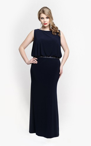 Bateau Sleeveless Sheath Jersey Long Dress With Blouson Bodice