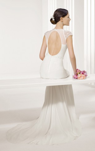 Jewel Neckline Keyhole Back Cap-Sleeved Sheath