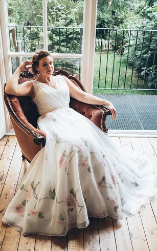 Wedding dress for elder brides 2nd married older second times a line floor length v neck sleeveless chiffon sweep train dress junglespirit Image collections