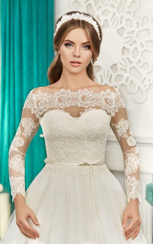 Off-the-shoulder Long Sleeve Illusion Back Bow Lace&Tulle Dress