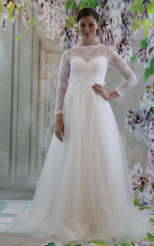 Tulle Long Sleeve Lace Bodice Dress With High Neck