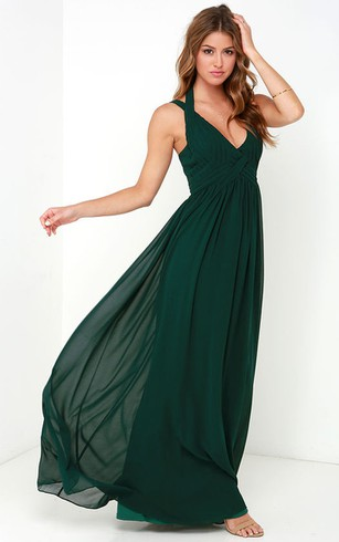 Magnificent Sleeveless V-Neck Empire Chiffon Gown