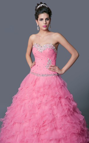 Glamorous Grand Beaded and Ruffled Quinceanera Ball Gown