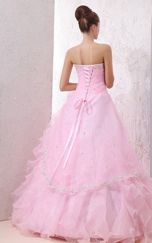 Blushing Sweetheart Ball Gown With Ruffles and Beaded Top
