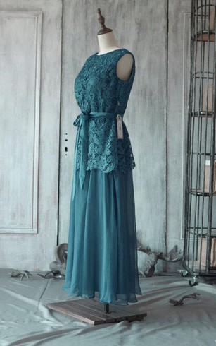 Bateau Sleeveless A-line Pleated Chiffon Tea Length Dress Lace Top Satin Sash