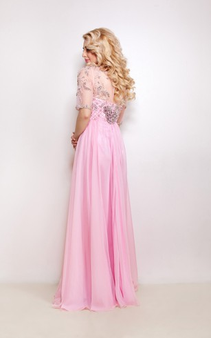 A-Line Floor-Length Sweep High-Neck Half Sleeve Empire Chiffon Beading Pleats Illusion Dress