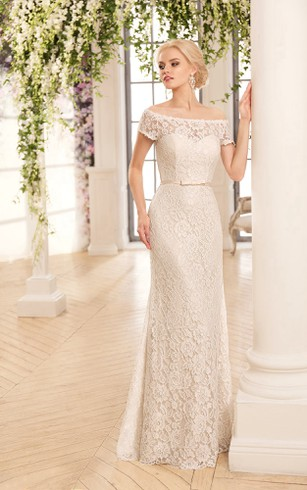 Sheath Maxi Off-The-Shoulder Illusion Lace Dress