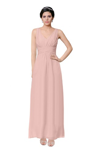 V-Neck Sleeveless Ruched Chiffon Dress