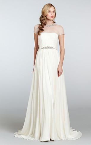 Graceful Draped Bodice Sheath Dress With Illusion Neckline and Beaded Belt