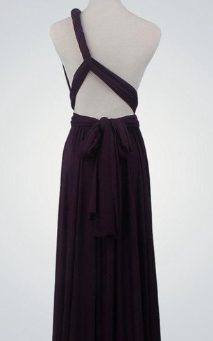One Shoulder A-line Jersey Long Dress With Sash and Keyhole