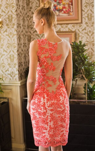 A-Line Short Jewel Sleeveless Lace Beading Appliques Illusion Dress