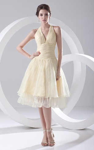 V-Neck Organza Short Dress With Pleating and Zipper-Back