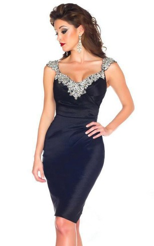 New Sexy Cap Sleeve Scoop Neck Crystals Beadings Satin Sheath Short Dresses