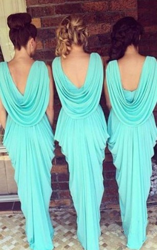 Sheath Short V-neck Bell Draping Tiers Cascading Ruffles Backless Chiffon Dress
