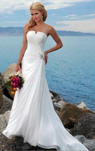 Casual Bridal Dresses | Simple Beach Chiffon Wedding Gowns - Dorris ...