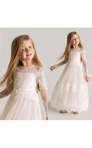 Wedding dresses for girl flower bridesmaid dress cheap dorris modern tulle lace a line flower girl dress 2018 long sleeve mightylinksfo