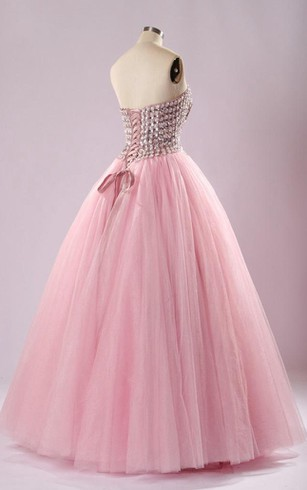 Tea-Length Off-The-Shoulder One-Shoulder Sleeveless Beading Lace-Up Back Tulle Lace Dress