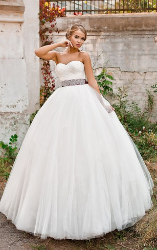 Ball Gown Long Sweetheart Sleeveless Lace-Up Tulle Dress With Criss Cross And Waist Jewellery