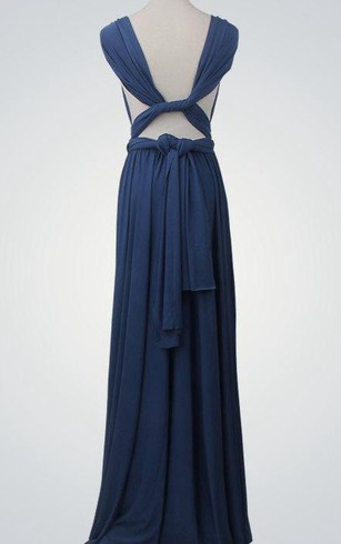 Cap Sleeve V Neck A-line Pleated Chiffon Long Dress With Bandage