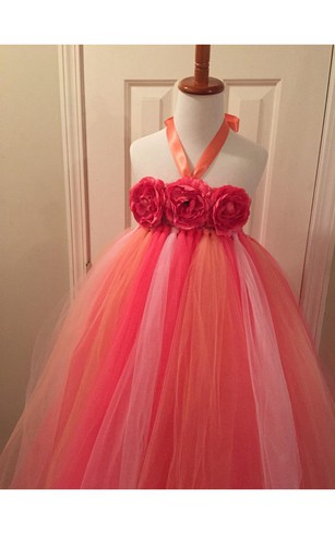 Halter Floral Bodice Empire Tulle Ball Gown With Bow