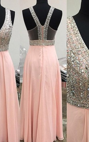 Lovely Pink Halter 2016 Prom Dress Long Chiffon With Beaidngs
