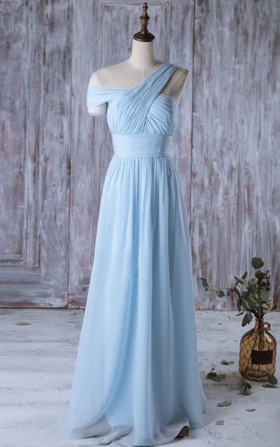 Blue Grecian Bridesmaid Dresses