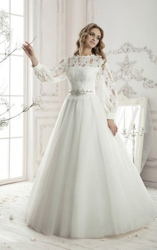 Floor Length A Line Long Sleeve Lace Top Appliques Tulle Dress