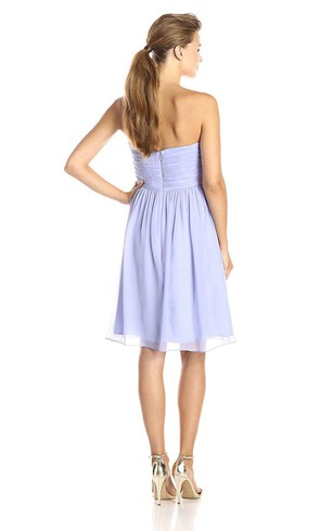 Sweetheart Short A-line Pleated and Ruched Chiffon Dress