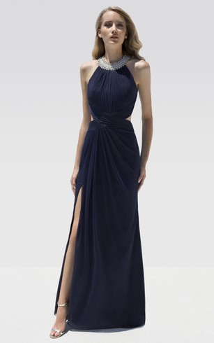 Sheath Floor-Length Scoop-Neck Sleeveless Chiffon Draping Beading Backless Dress