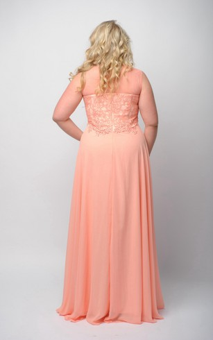 Empire Floor-Length Bateau Sleeveless Empire Chiffon Lace Zipper Dress