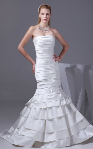 Strapless Siren Style Dress With Tiers And Brush Train