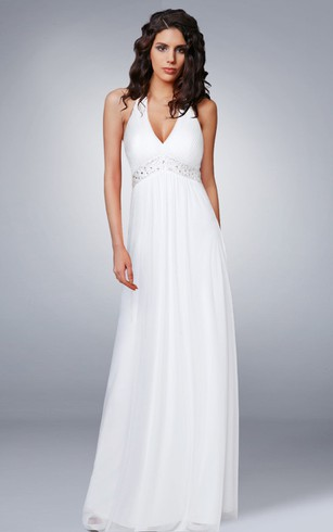 Halter Beaded Chiffon Long Wedding Dress ...