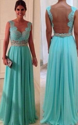 Sexy Lace Sheath Long Evening Dresses Sweetheart Blue Nude Back Evening Gowns With Beadings Chiffon