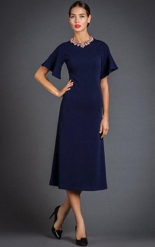 High Neck Short Bell Sleeve A Line Tea Length Jersey Dress