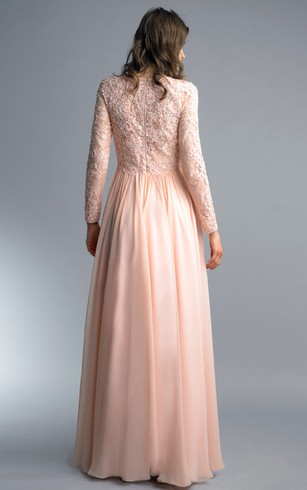 A-line Floor-length High Neck Long Sleeve Chiffon Zipper Dress
