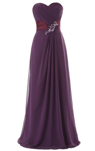 Amazing Sweetheart A-line Chiffon Gown With Beadings