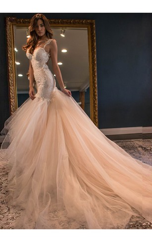 ... Mermaid Straps Backless Chapel Train Pink Wedding Dress with Lace Wedding  Dresses 721972351be0